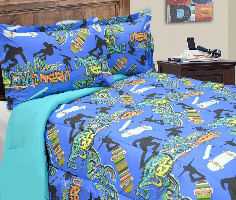 Mattresses and Bedding - Skateboard 2-Piece Twin Comforter Set