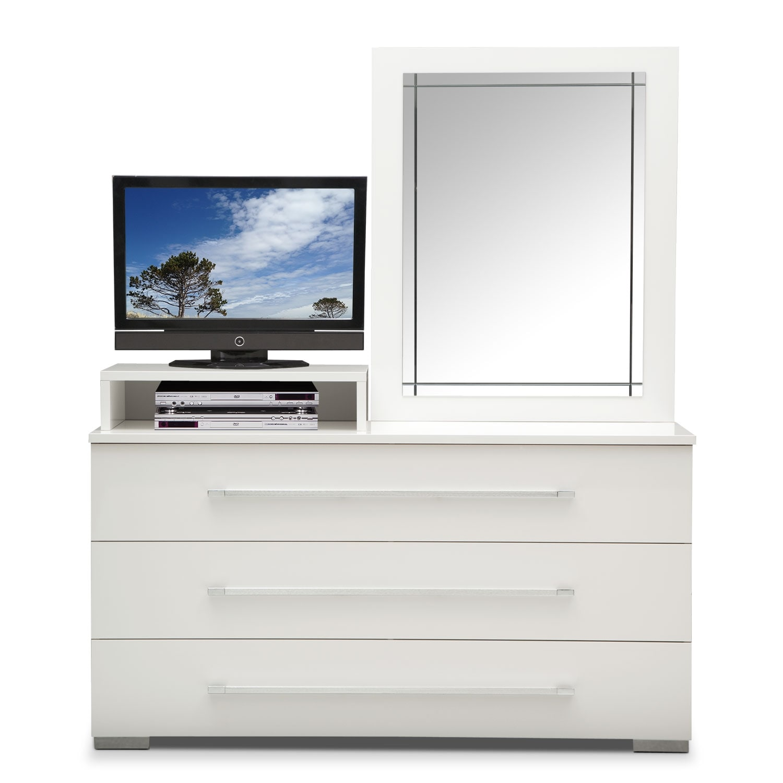 dimora white dresser with deck mirror value city furniture