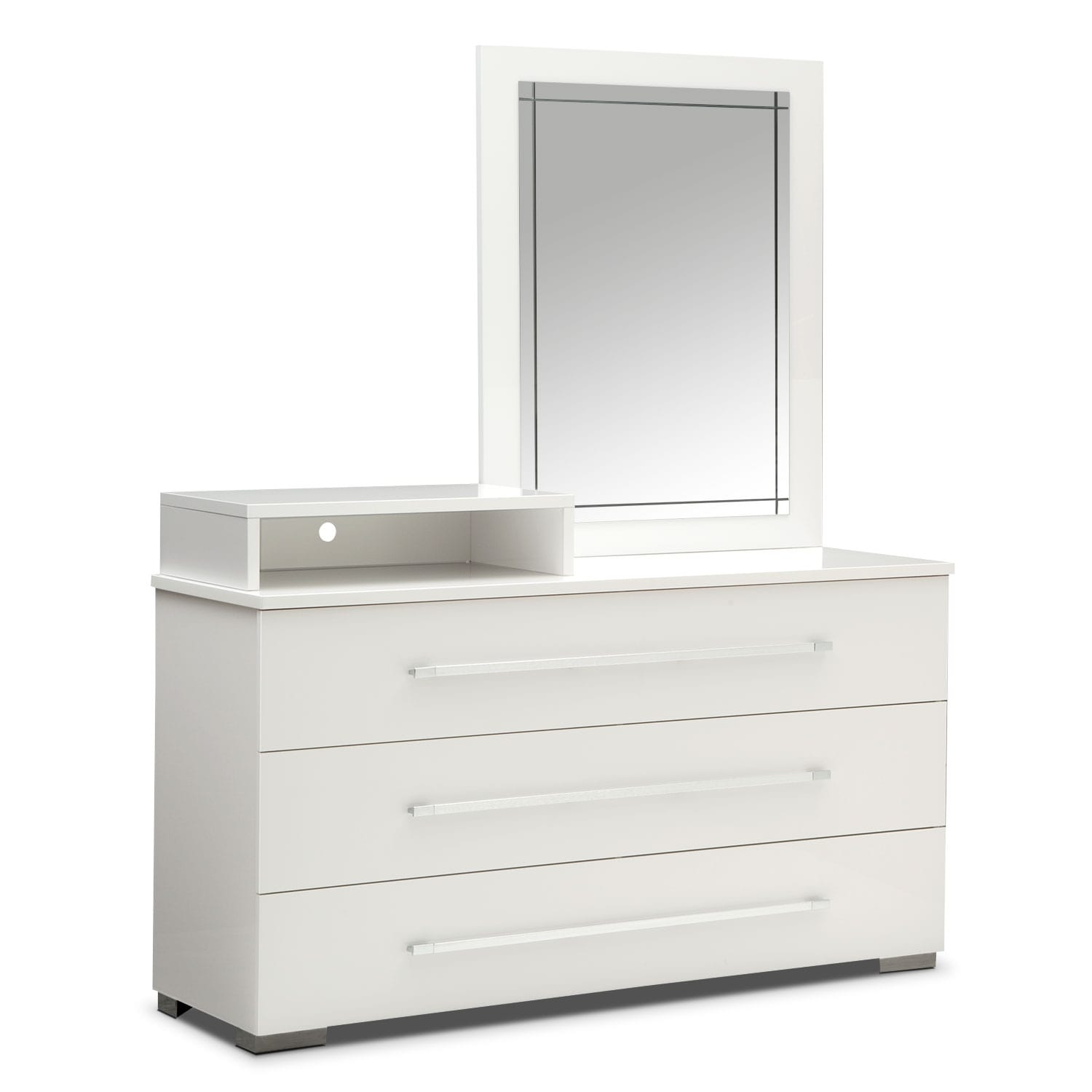 dimora media dresser and mirror white value city furniture. Black Bedroom Furniture Sets. Home Design Ideas