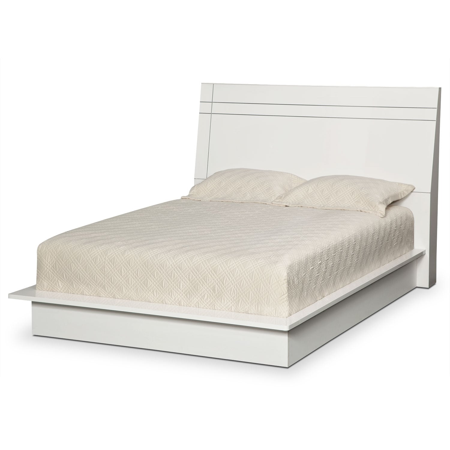 Dimora king panel bed white value city furniture for Panel bed mattress