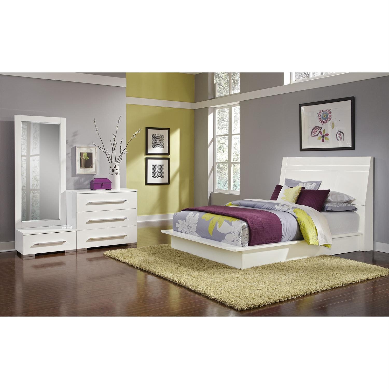 dimora 5-piece queen panel bedroom set - white   value