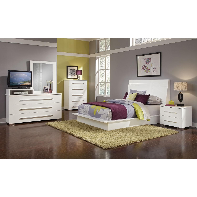 Dimora 7 Piece Queen Panel Bedroom Set With Media Dresser White Value City Furniture