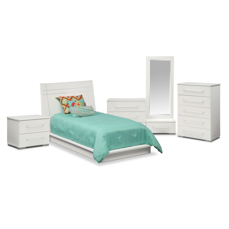 bedroom furniture dimora 7 piece twin panel bedroom set white