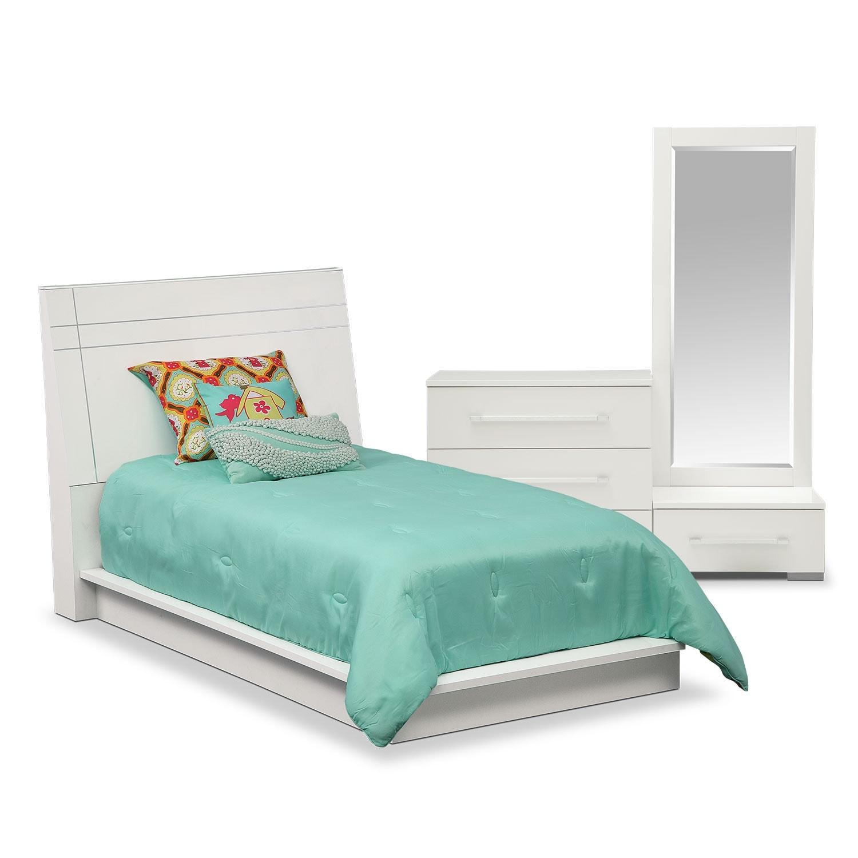 dimora 5 piece twin panel bedroom set white american