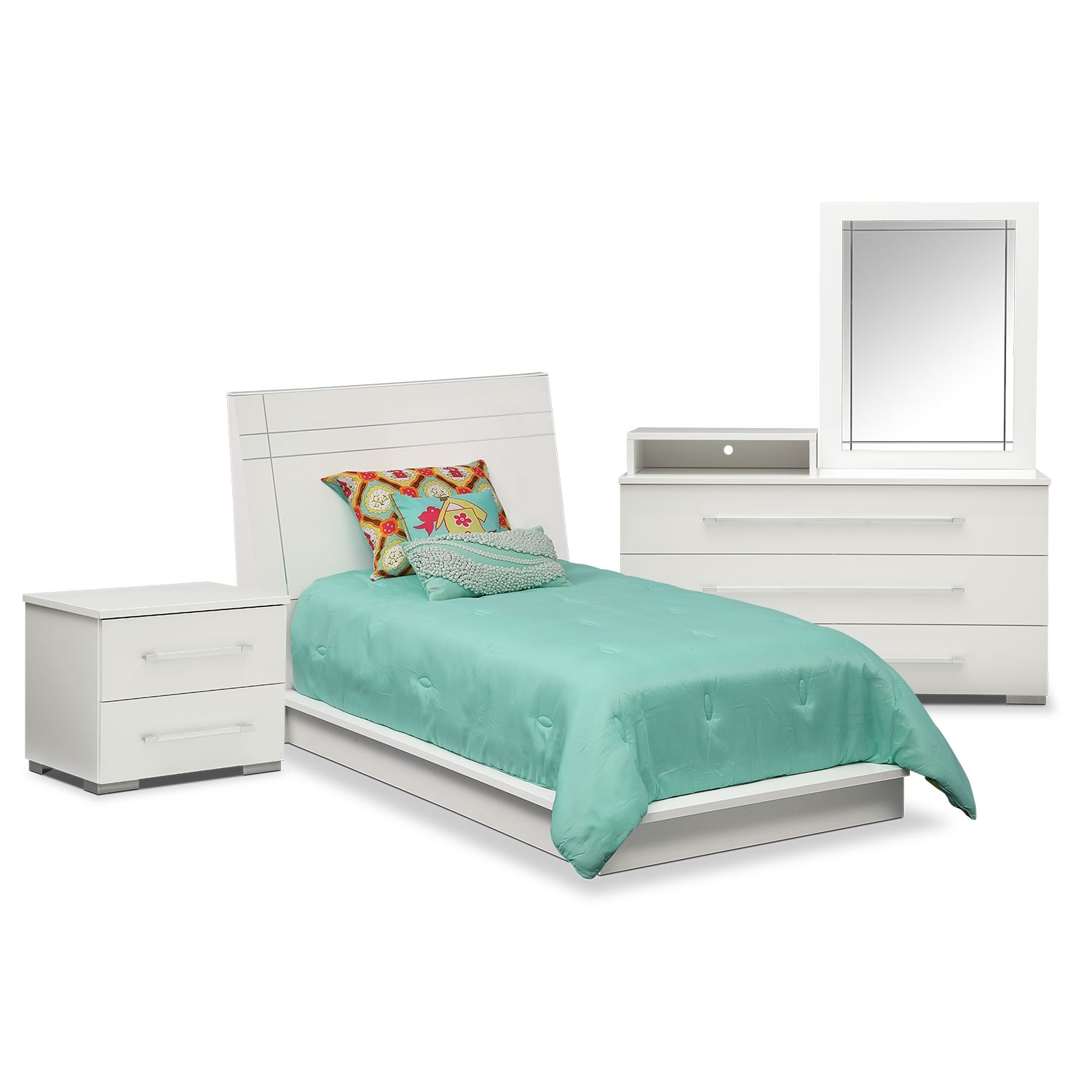 Dimora 6 Piece Twin Panel Bedroom Set With Media Dresser White American S