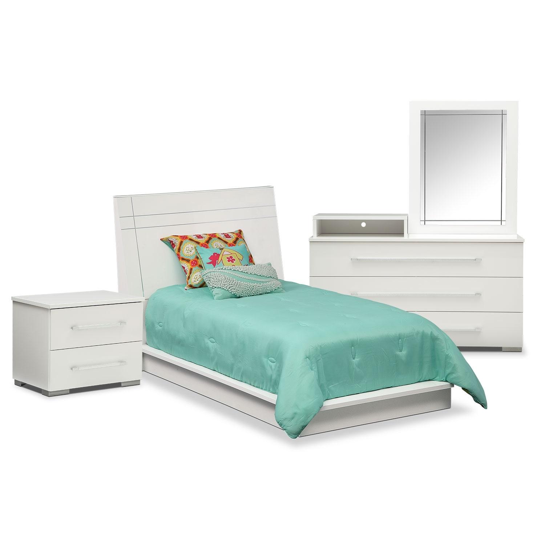 Dimora 6 Piece Twin Panel Bedroom Set With Media Dresser White American S