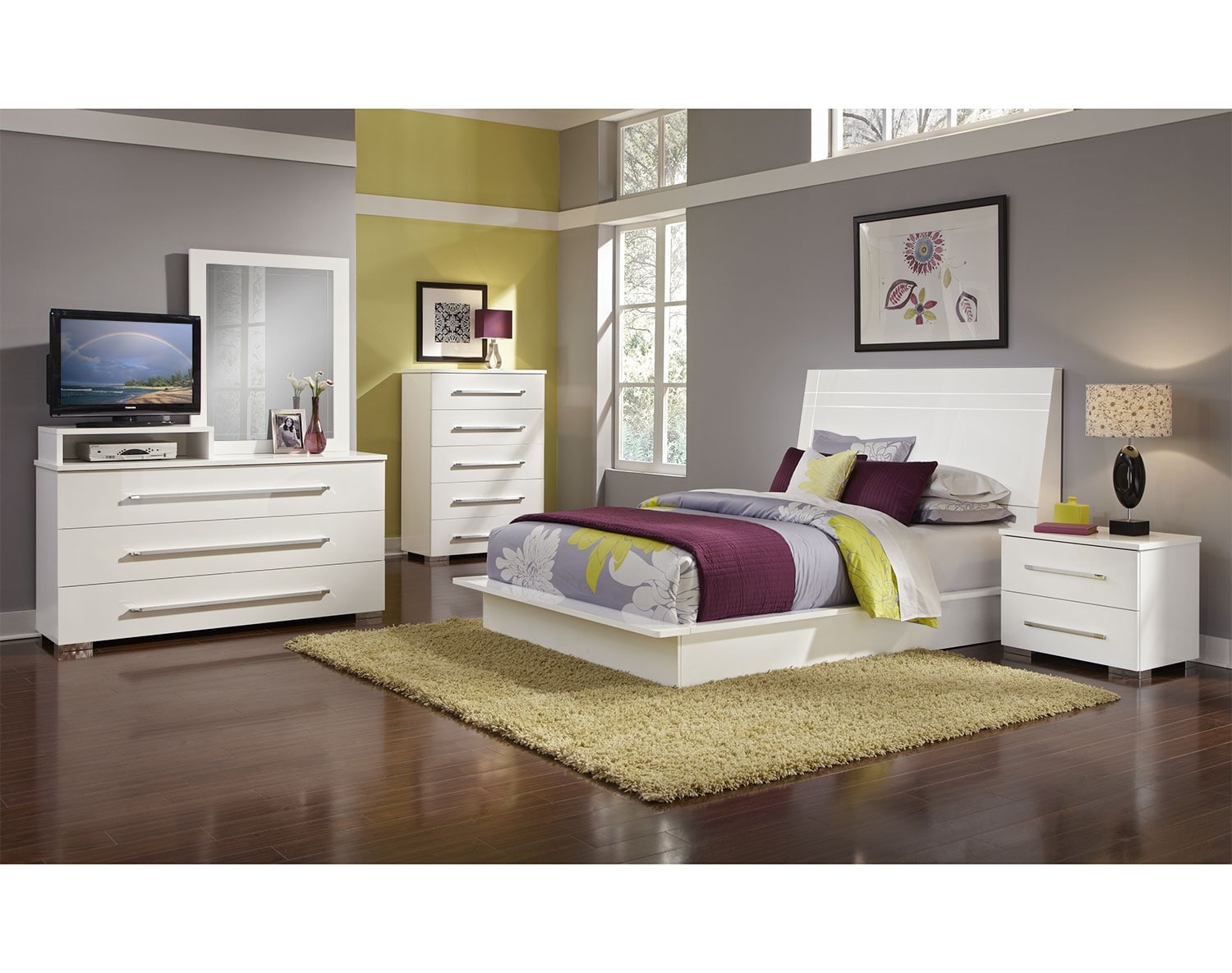 Bedroom Furniture - The Prima II White Collection - Queen Bed