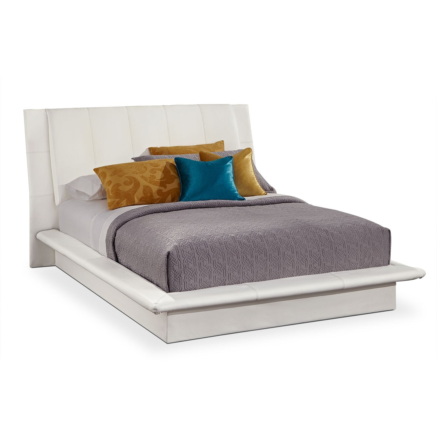 Dimora queen upholstered bed white value city furniture for Bedroom furniture upholstered beds