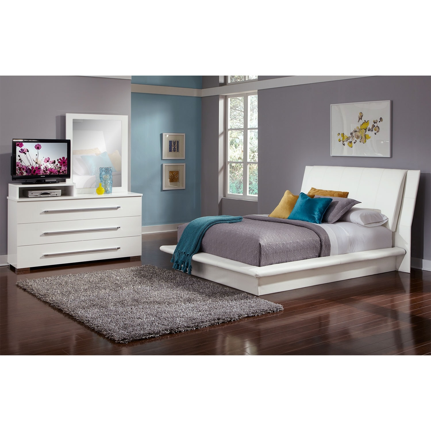 Dimora 5 piece queen upholstered bedroom set with media for Bedroom furniture package deals