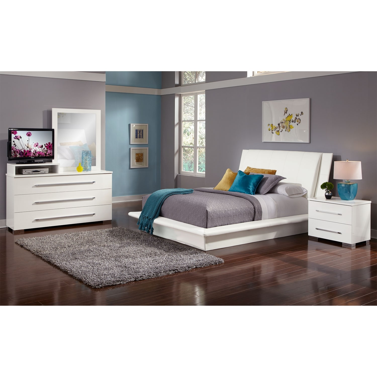 Dimora 6 Piece Queen Upholstered Bedroom Set With Media Dresser White Val