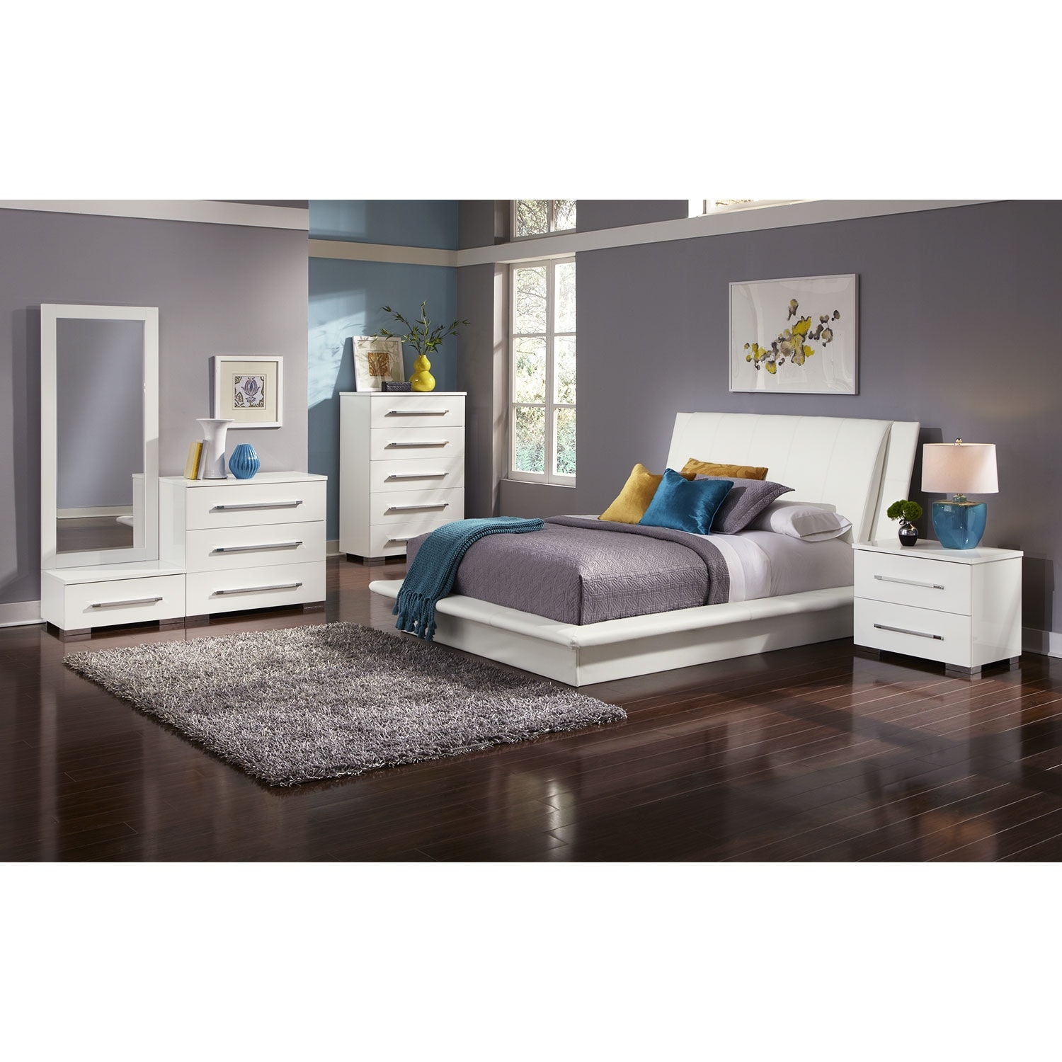 Dimora 7 Piece King Upholstered Bedroom Set White