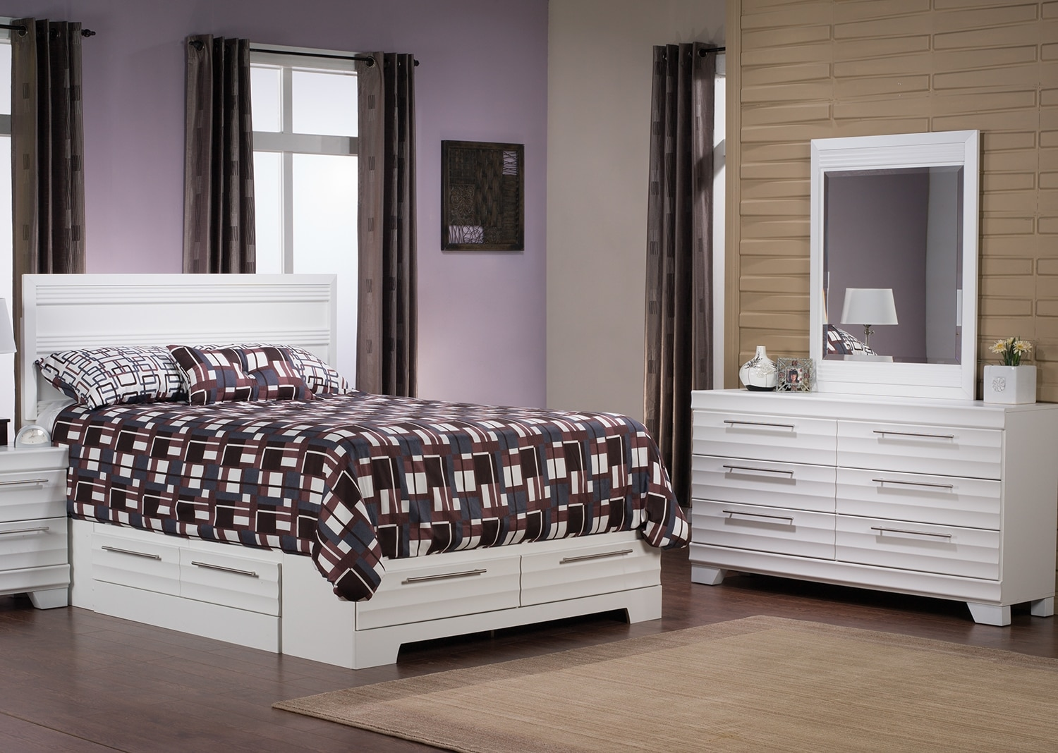 Bedroom Furniture - Olivia 5-Piece Queen Storage Bedroom Package – White