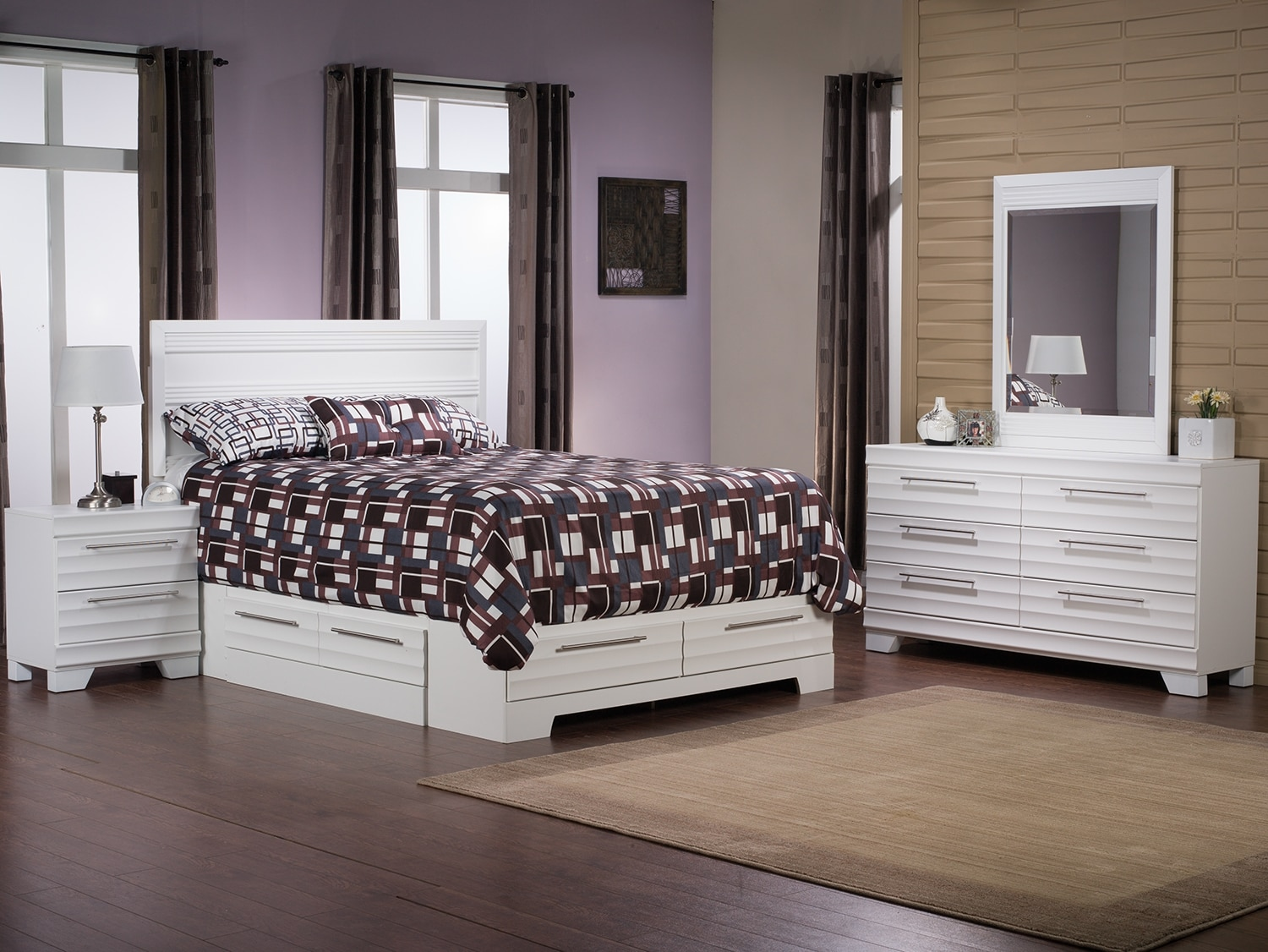 Bedroom Furniture - Olivia 6-Piece Queen Storage Bedroom Package – White