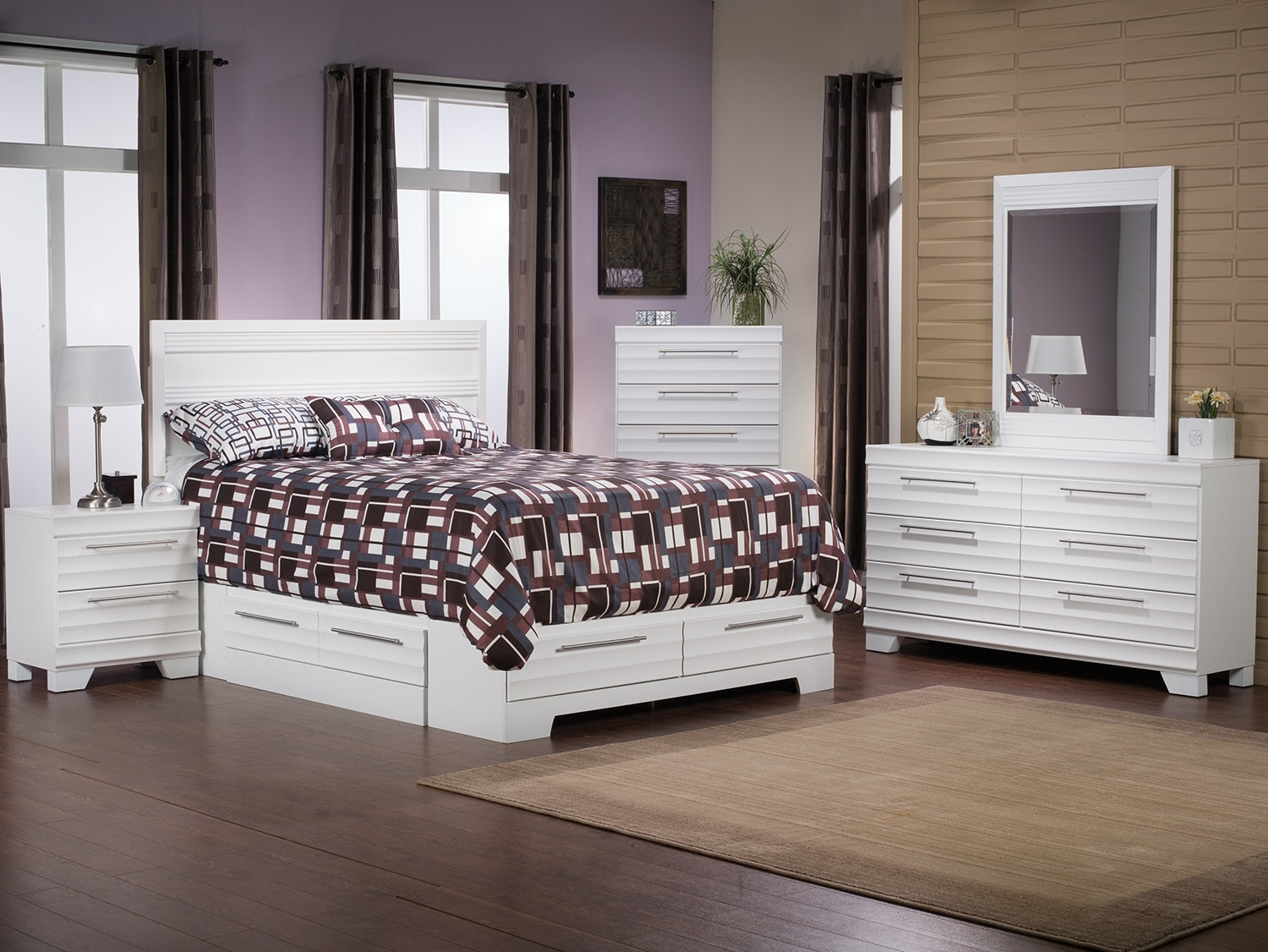 Bedroom Furniture - Olivia 7-Piece Queen Storage Bedroom Package – White