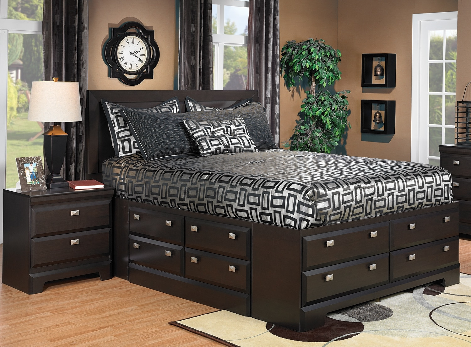 Bedroom Furniture - Yorkdale Queen Storage Bed with Nightstand Package