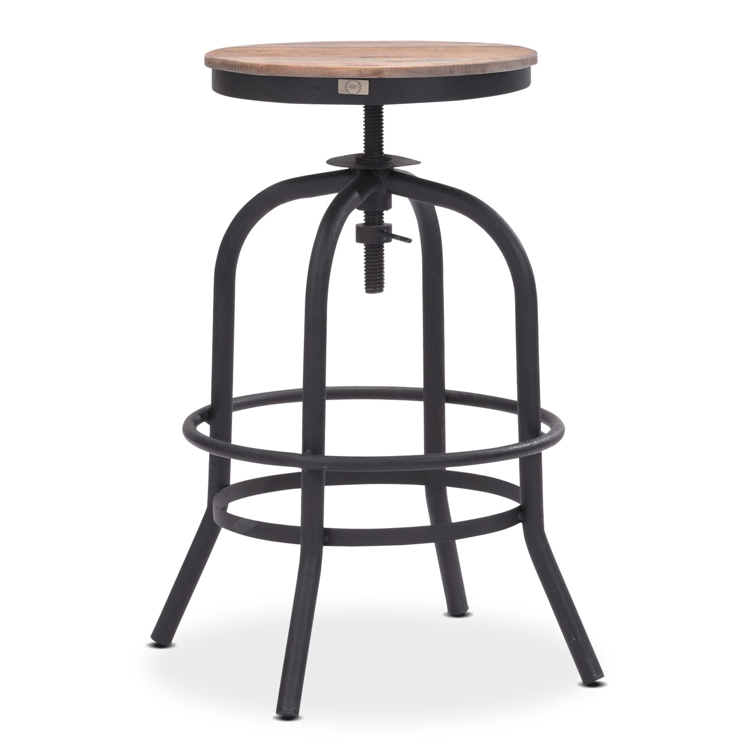 Elston Adjustable Backless Counter Height Stool Antiqued Black Value City Furniture