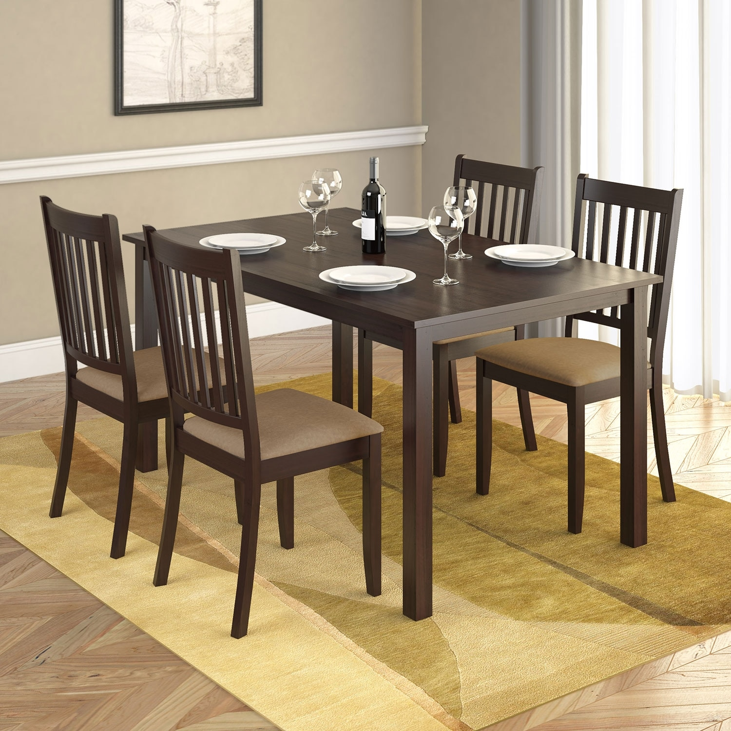 """Dining Room Furniture - Atwood 5-Piece 55"""" Dining Package with Beige Chairs"""