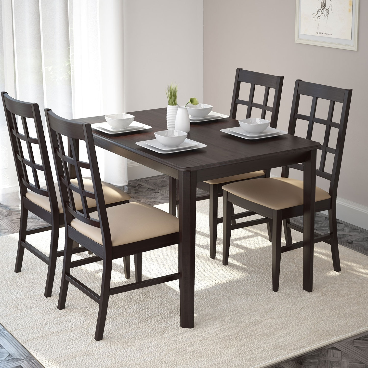 "Dining Room Furniture - Atwood 5-Piece 47.3"" Dining Package with Grey Chairs"