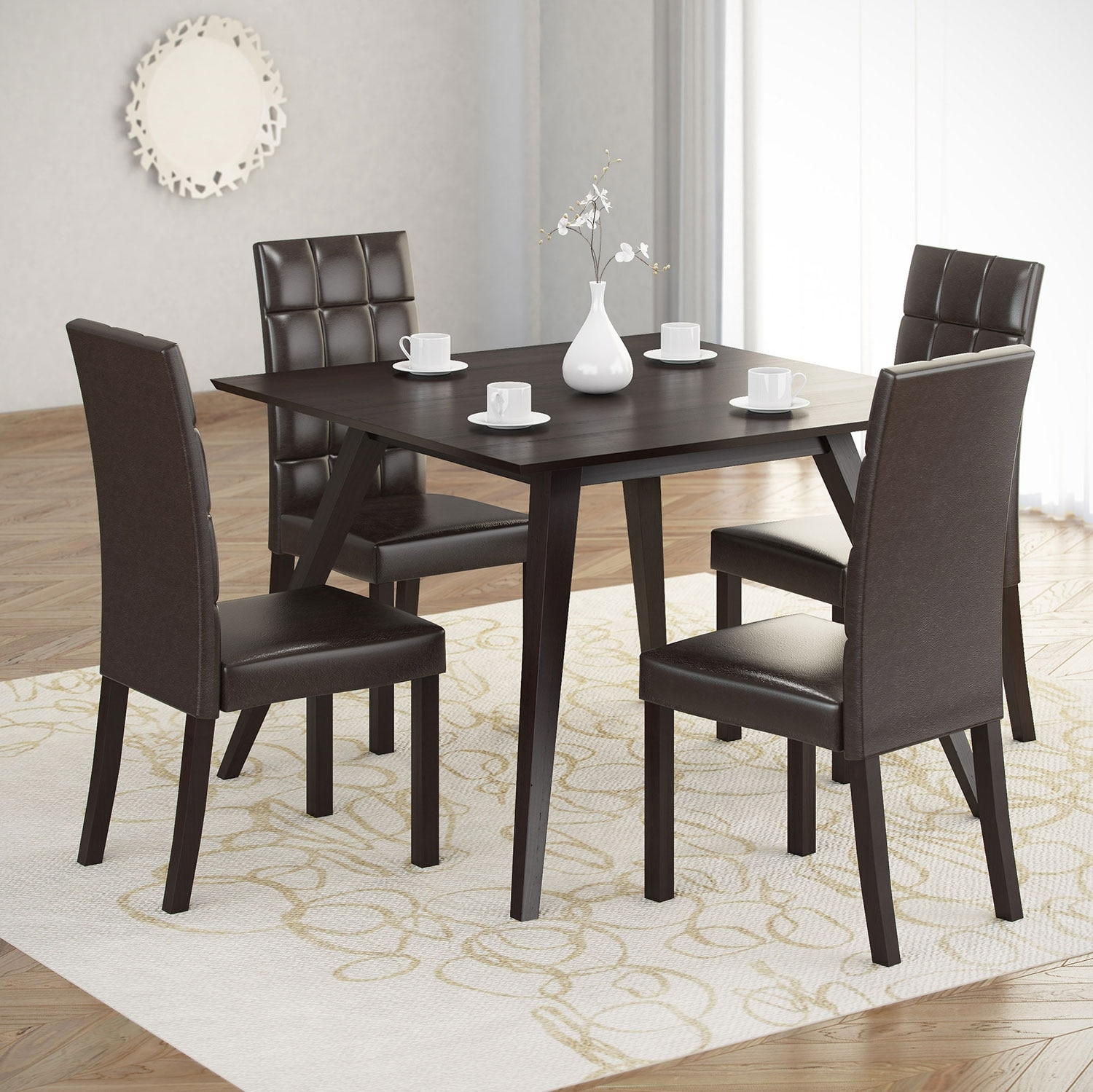 Dining Room Furniture - Atwood 5-Piece Dining Package with Faux Leather Dark Brown Chairs