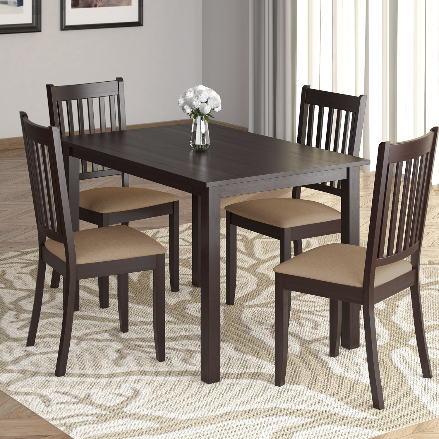 "Dining Room Furniture - Atwood 5-Piece 43.3"" Dining Package with Beige Chairs"