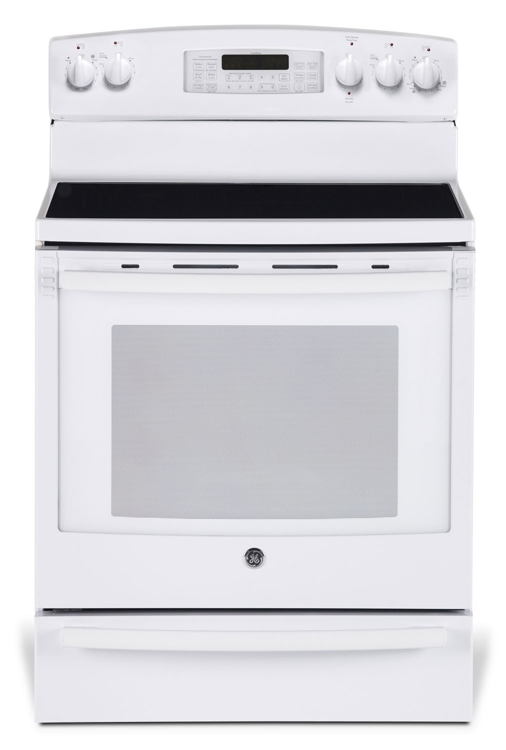 [GE White Freestanding Electric Convection Range (7.2 Cu. Ft.) - PCB980DFWW]