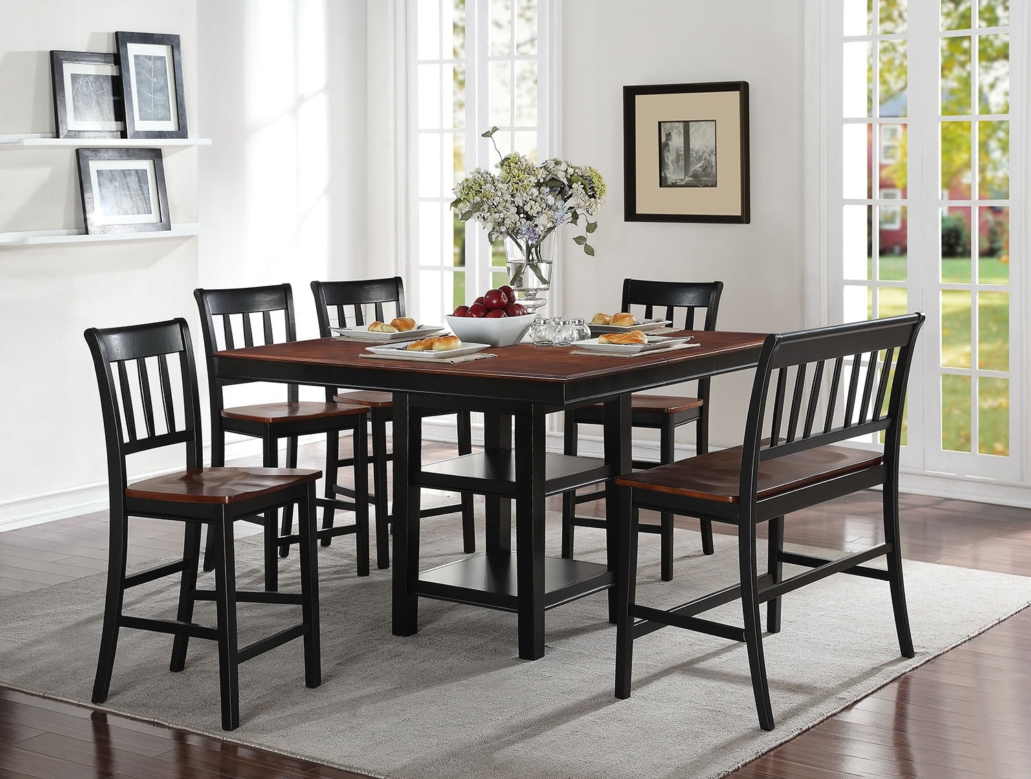 Dining Room Furniture - Nyla 6-Piece Counter-Height Dining Package – Black and Cherry