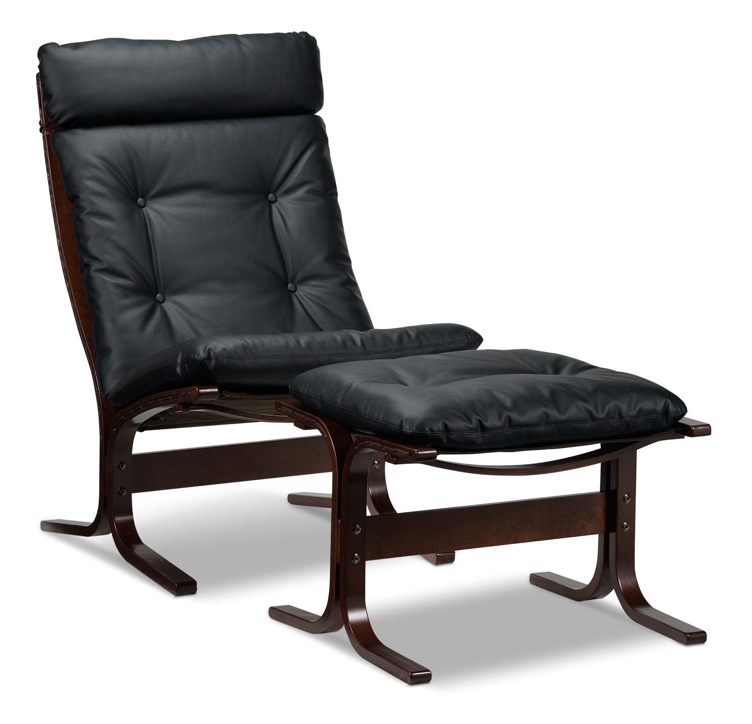 [Carey Chair and Ottoman - Black]