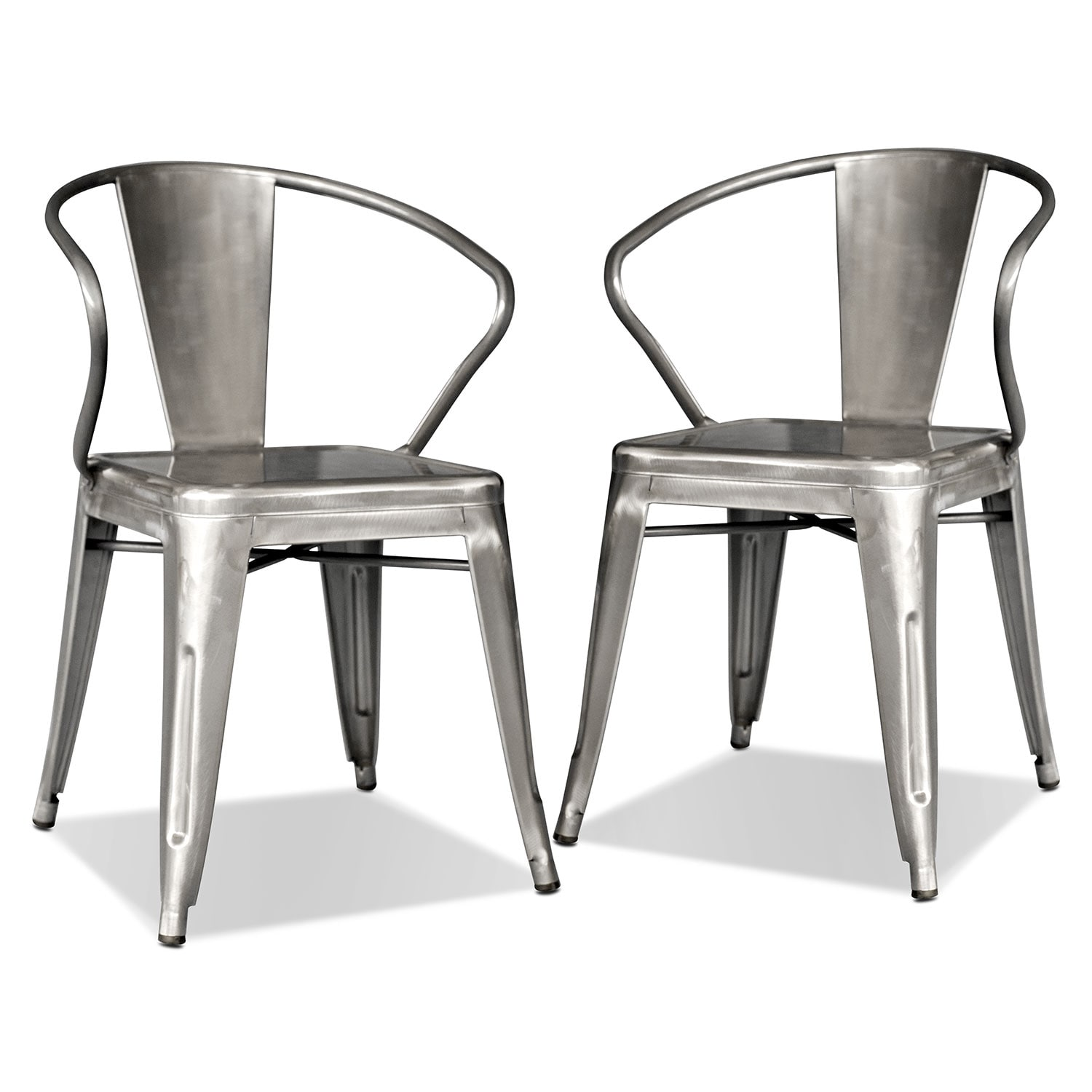 squadron 2pack arm chairs polished steel - Metal Dining Room Chairs