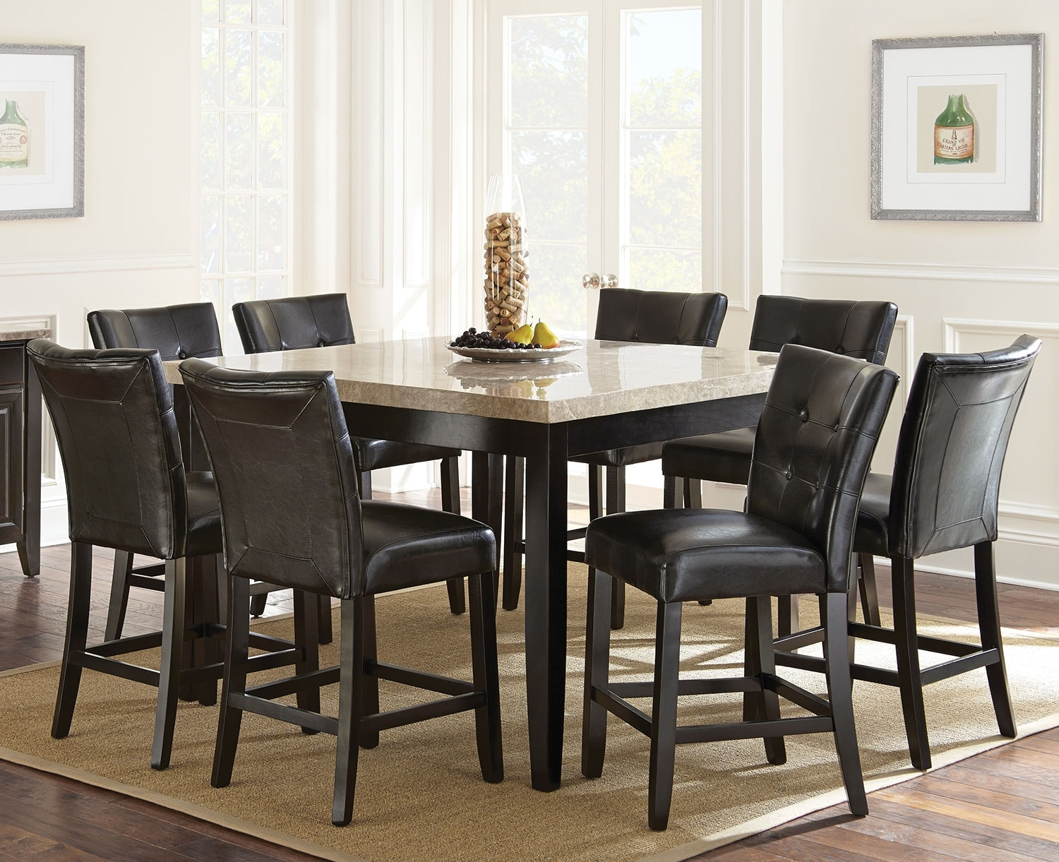 Dining Room Furniture - Montibello 9-Piece Pub-Height Dining Package with White Marble Tabletop