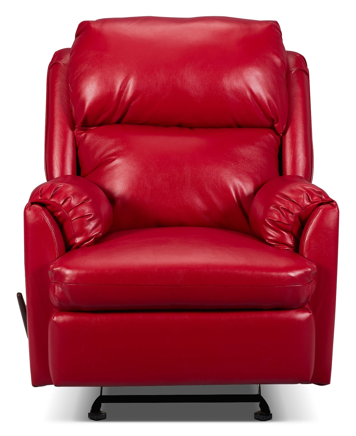Living Room Furniture - Drogba Faux Leather Reclining Chair - Red