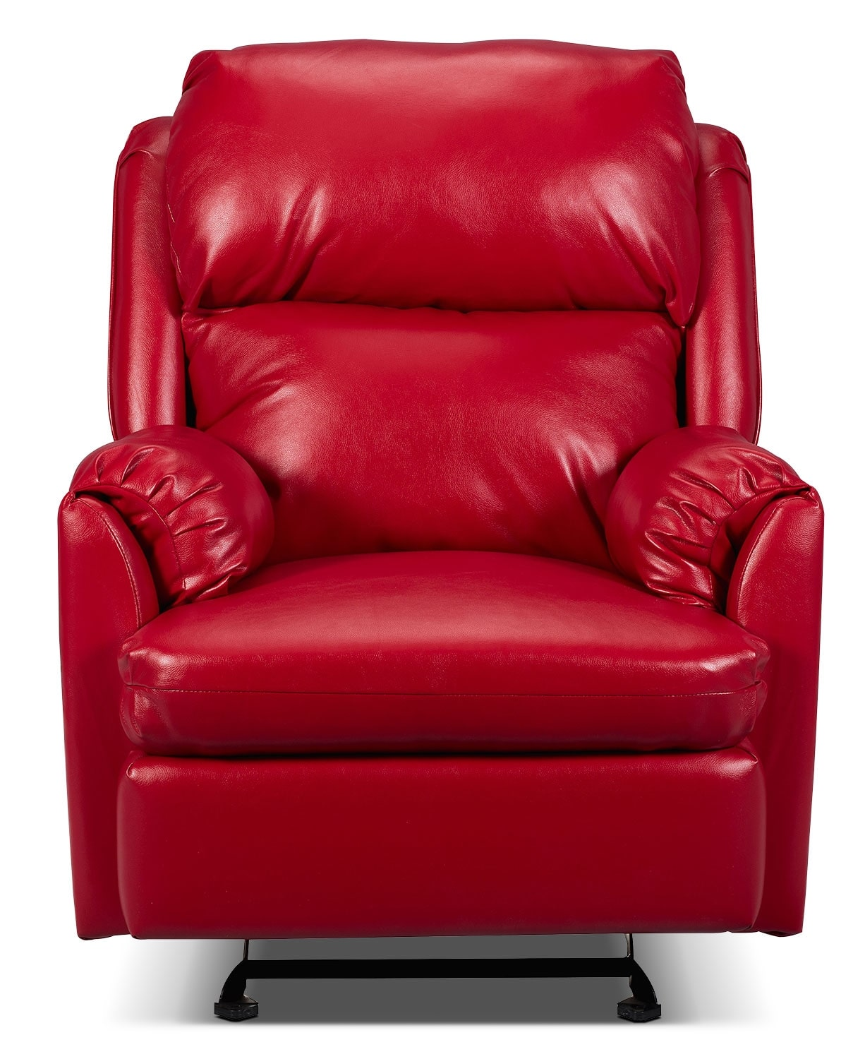 Living Room Furniture - Drogba Faux Leather Power Reclining Chair - Red