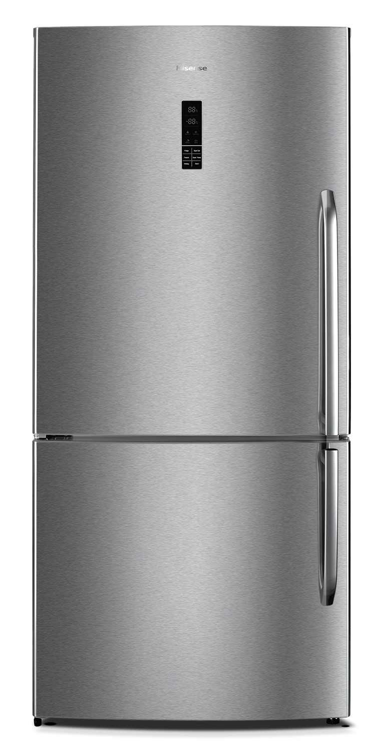 Hisense 17 Cu. Ft. Bottom-Mount Refrigerator with Left Door Swing – Stainless Steel