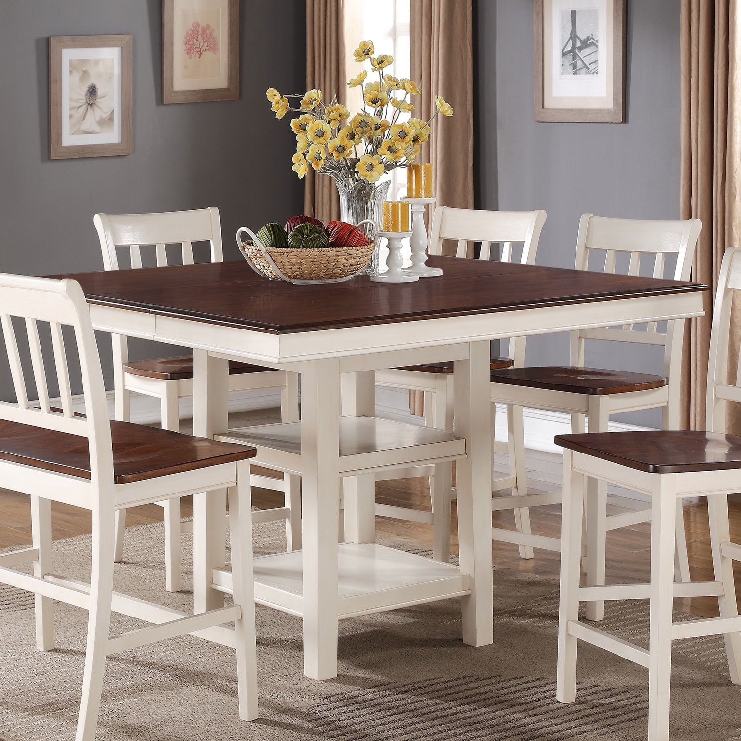 White Counter Height Dining Table White 7pc Dining Set
