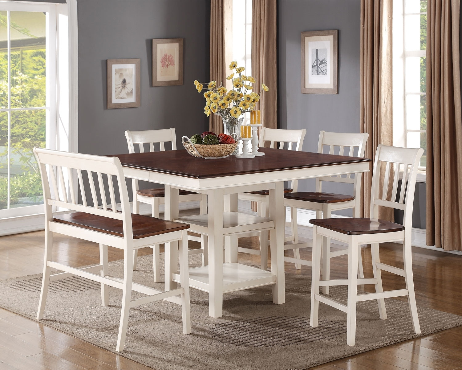 Nyla Counter-Height Dining Table – Antique White and Cherry | The ...
