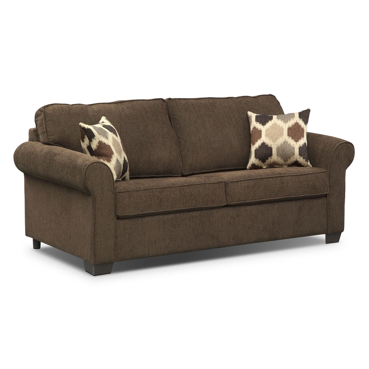 Fletcher Full Innerspring Sleeper Sofa - Chocolate | Value City Furniture