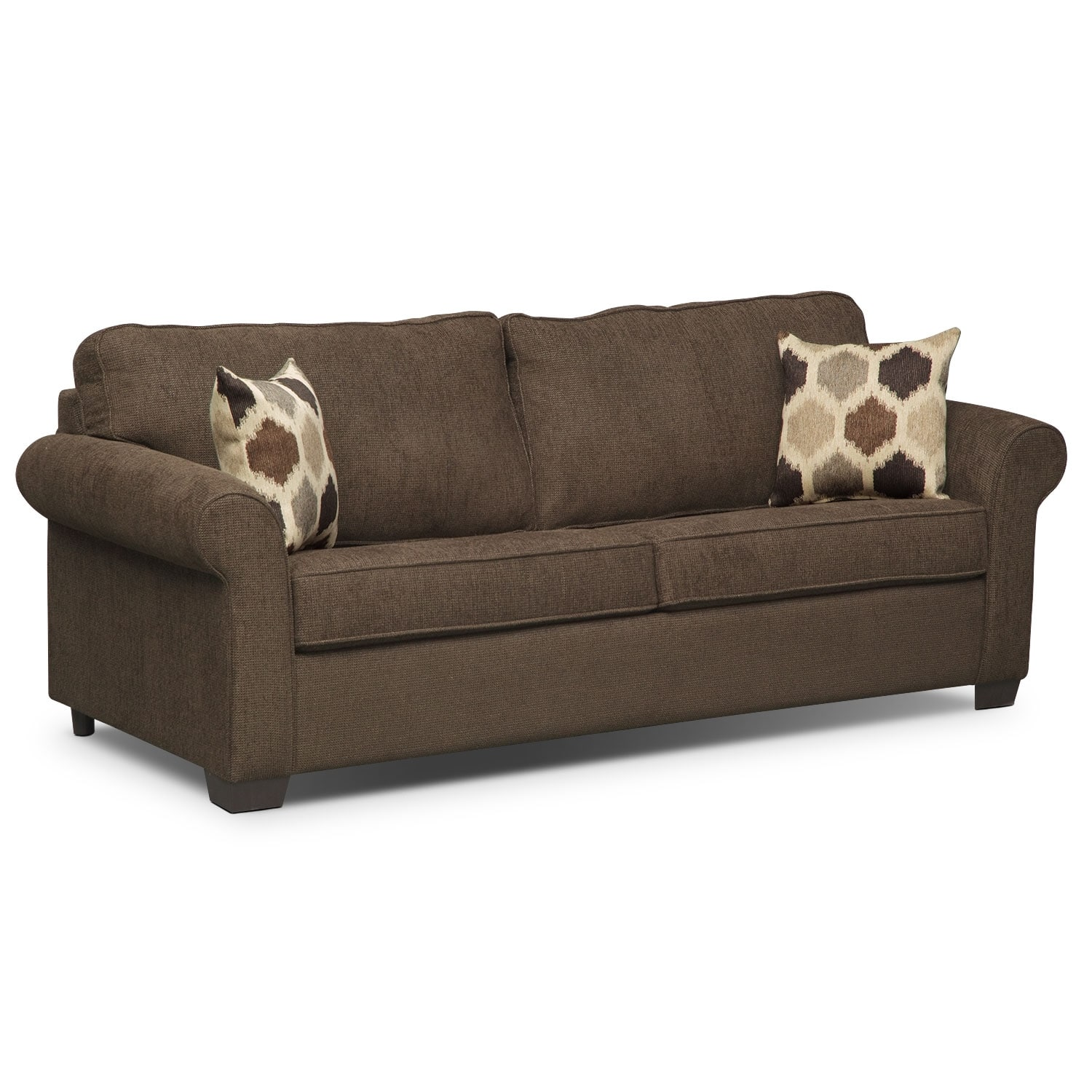 Fletcher queen memory foam sleeper sofa chocolate value city furniture Sofa sleeper loveseat