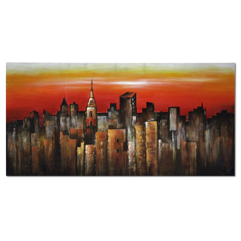 Orange city canvas print value city furniture for Orange wall art