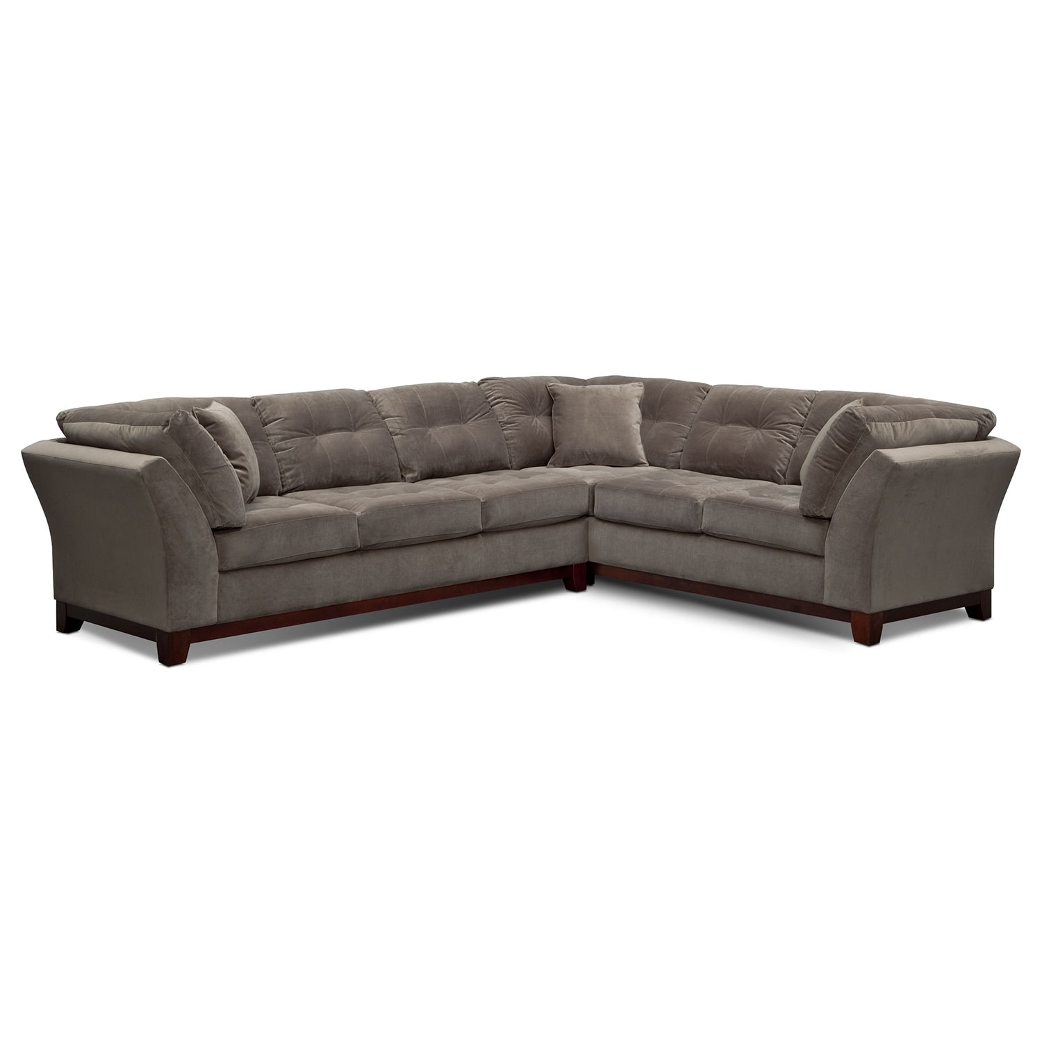 Living room furniture solace gray ii 2 pc sectional reverse