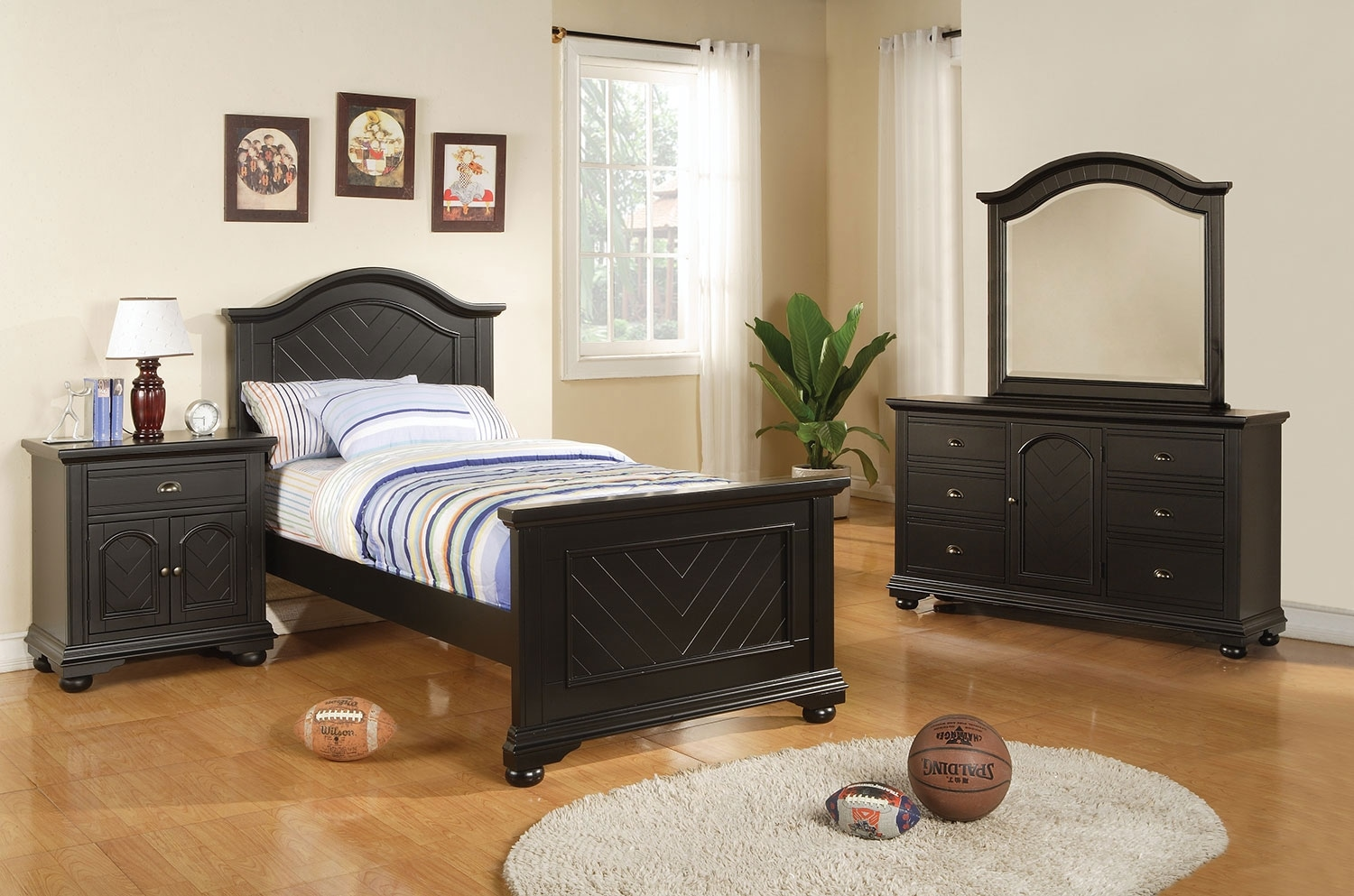 Brook Black 5-Piece Twin Bedroom Package