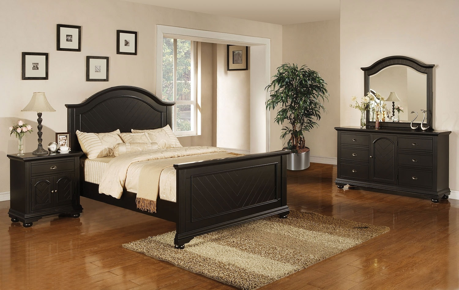 Bedroom Furniture - Brook Black Queen 6-Piece Bedroom Package