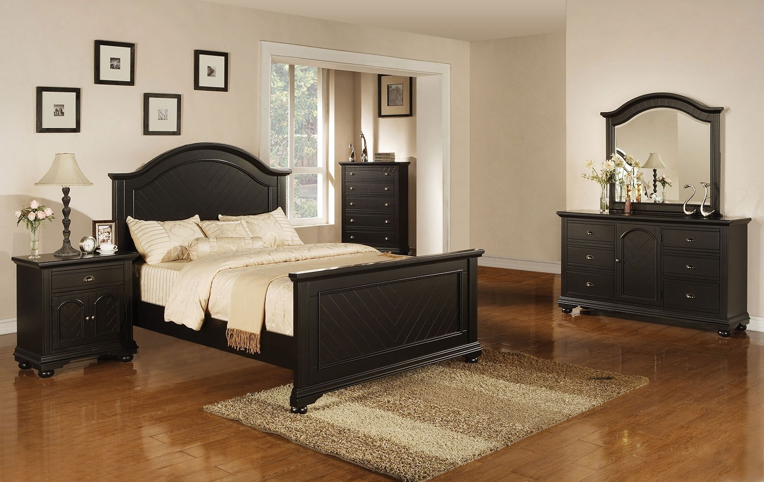 Bedroom Furniture - Brook Black 8-Piece Queen Bedroom Set