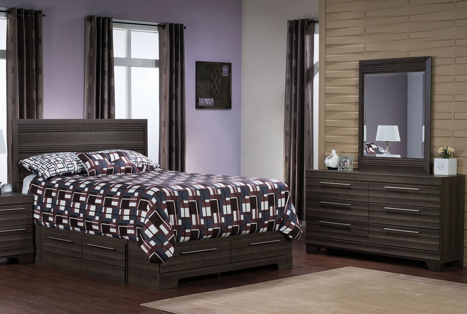 Bedroom Furniture - Olivia 5-Piece Full Storage Bedroom Package – Grey