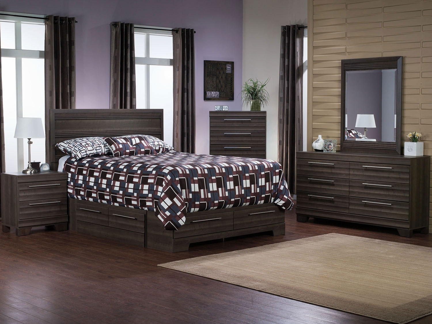 olivia 8piece full storage bedroom package u2013 grey furniture the brick