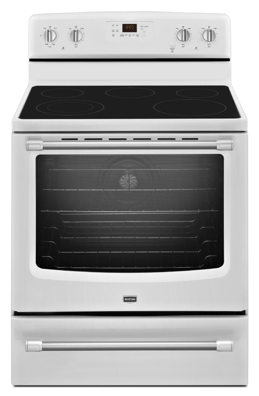[Maytag White Freestanding Electric Range (6.2 Cu. Ft.) - YMER8700DH]