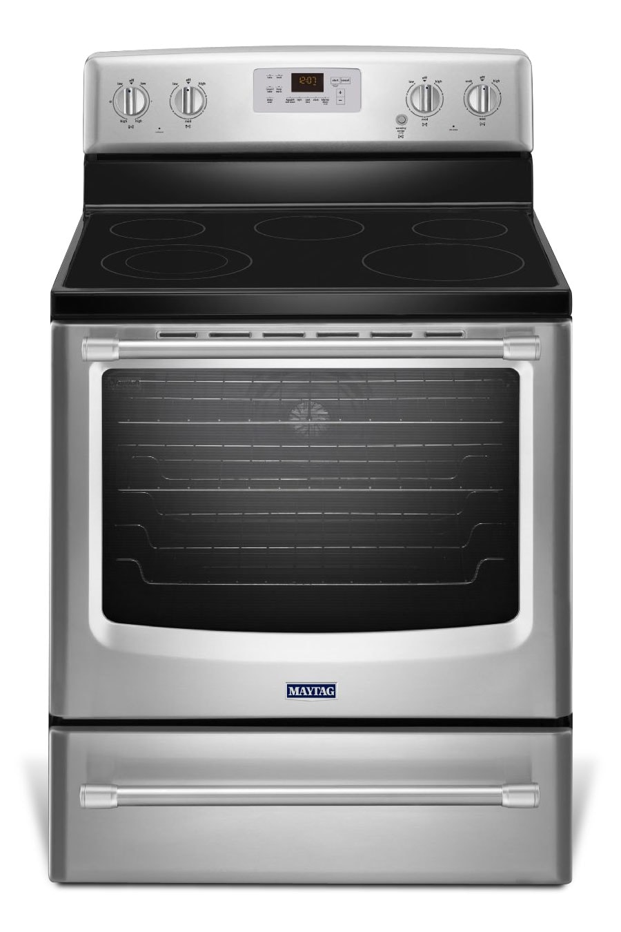 Cooking Products - Maytag Stainless Steel Electric Range (6.2 Cu. Ft.) - YMER8700DS