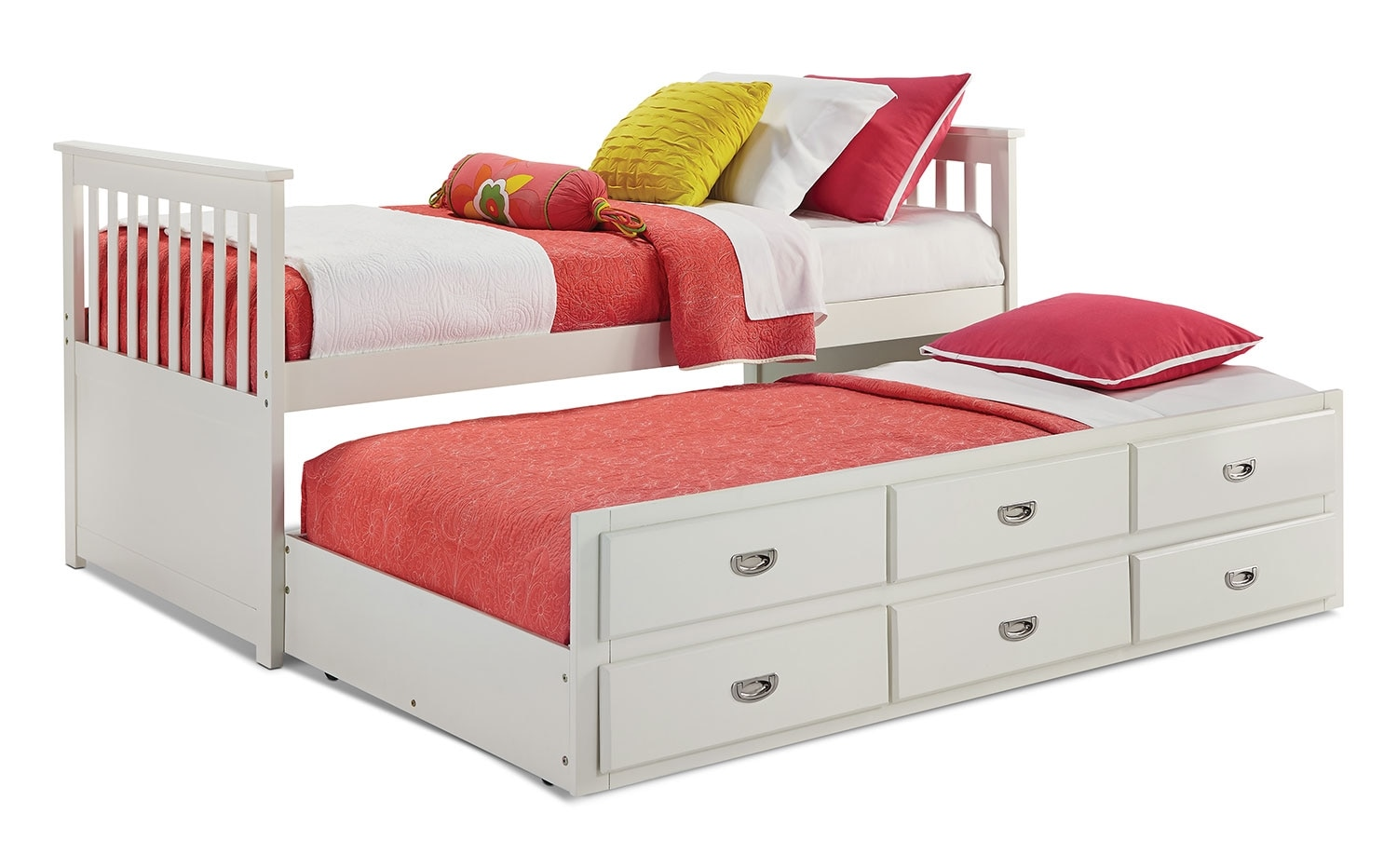 Chadwick twin captain s bed white united furniture for Captains bed