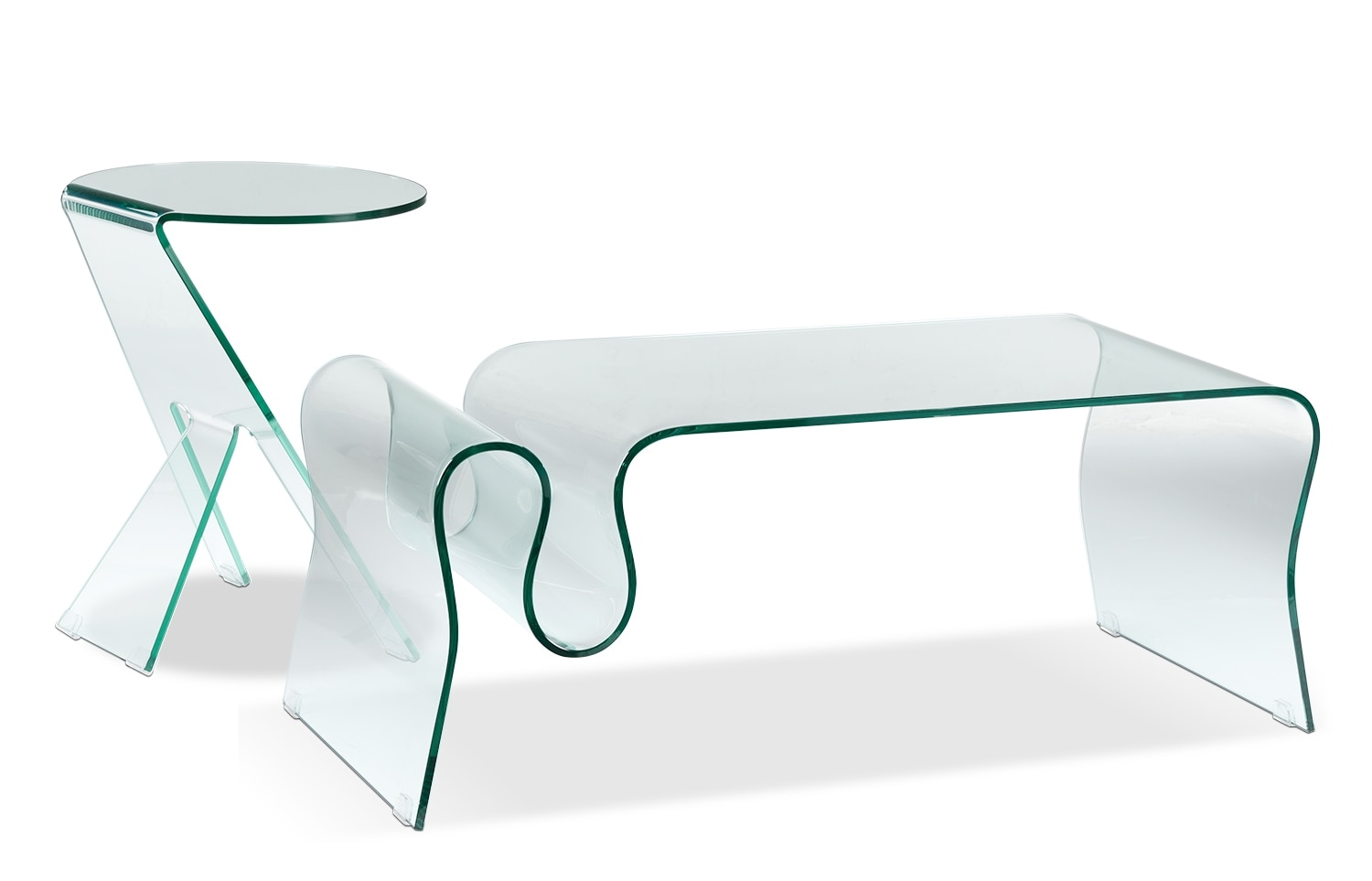 Accent and Occasional Furniture - Athens Coffee Table and Two End Tables - Glass
