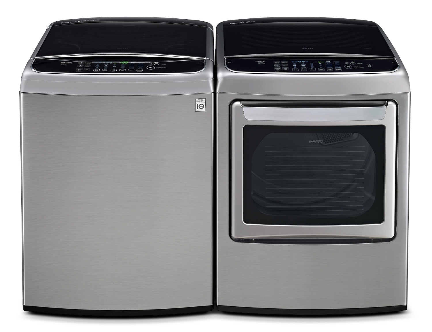 Washers and Dryers - LG 5.8 Cu. Ft. Top-Load Washer and 7.3 Cu. Ft. Electric Dryer - Graphite Steel