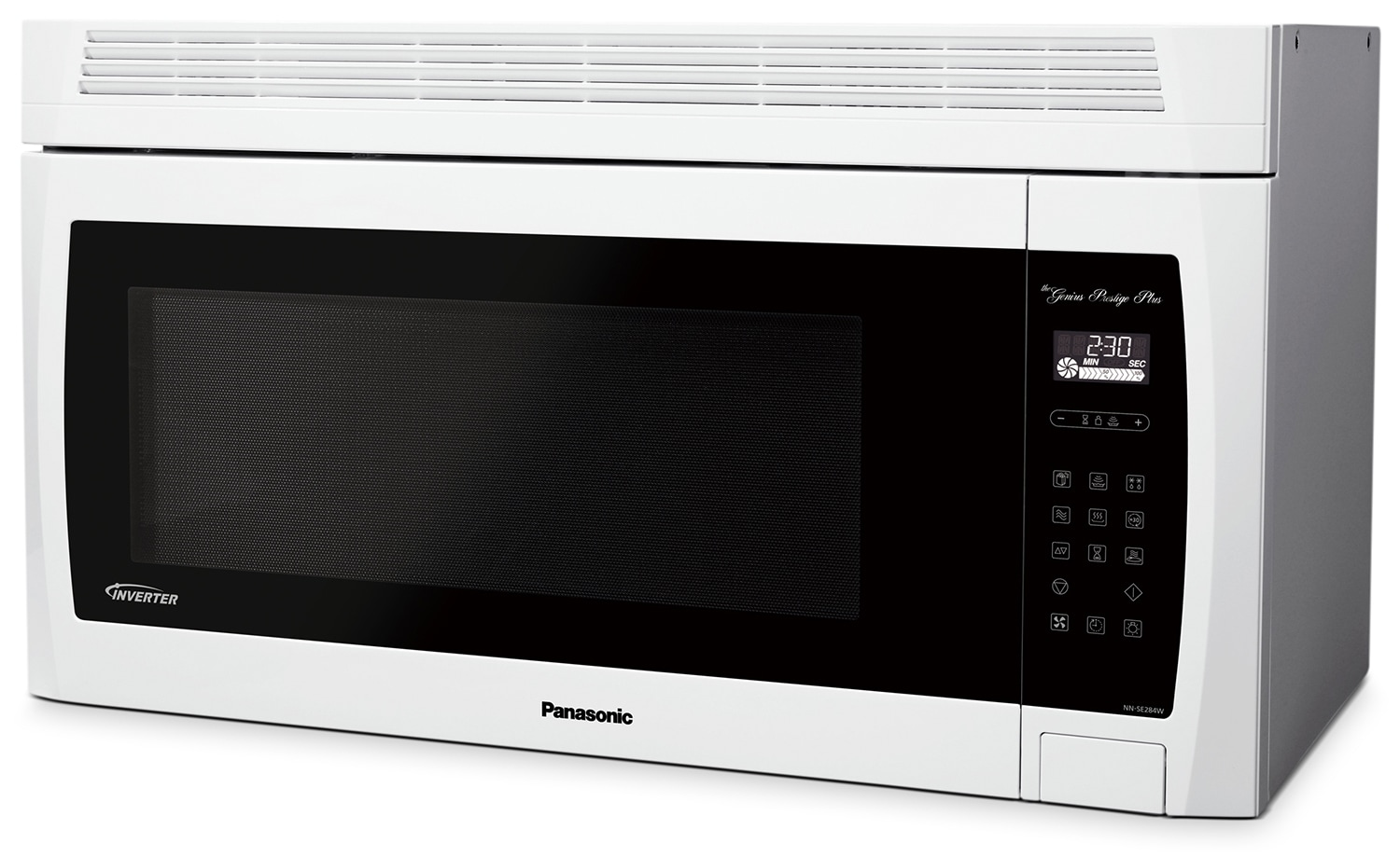 panasonic 2 0 cu ft genius prestige plus over the range microwave oven stainless steel. Black Bedroom Furniture Sets. Home Design Ideas