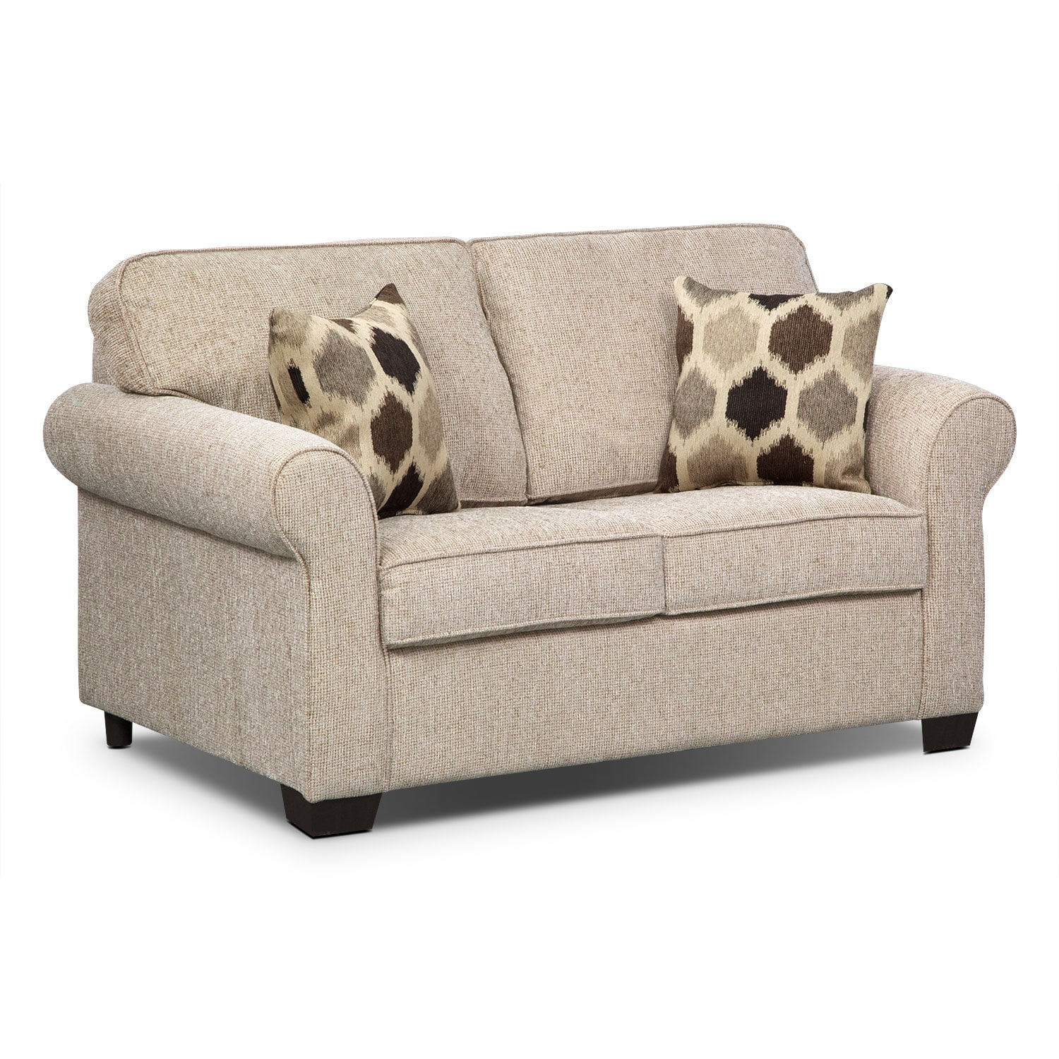 Fletcher twin innerspring sleeper sofa beige american signature furniture Sofa sleeper loveseat